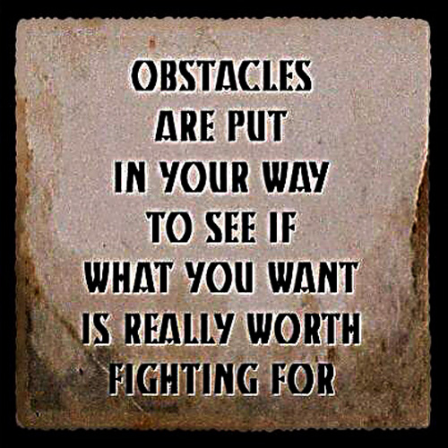"""Obstacles are put in your way to see if what you want is worth fighting for"""