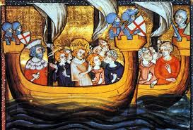 Old painting of Crusaders in boats