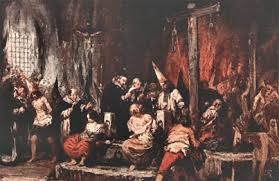 Old painting of Inquisition scene