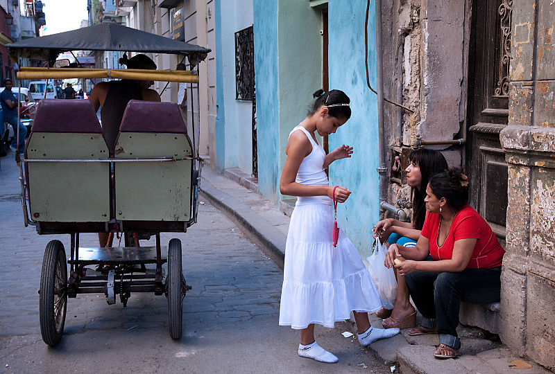 Young girl initiate to Santeria in Havana, Cuba