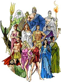 Cartoon pantheon of Greek gods and goddesses